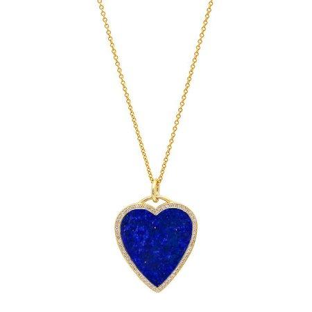Jennifer Meyer   Lapis Inlay Heart Necklace with Diamonds
