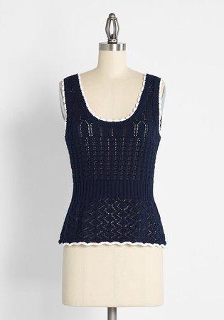 Crochet Is the Way Tank Top Navy Multi | ModCloth