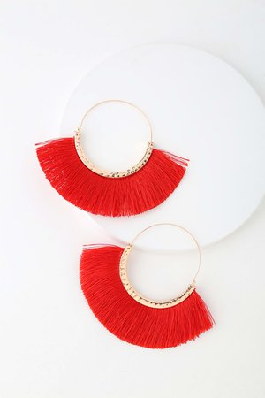 Boho Gold and Red Earrings - Hoop Earrings - Fringe Earrings