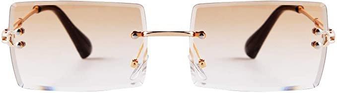Amazon.com: ADE WU Rectangle Sunglasses For Women,Fashion Sheer Pink,Blue Lens,Rimeless Glasses Trendy: Clothing