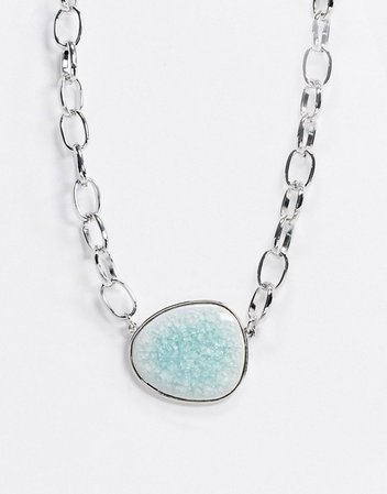 Topshop chain necklace in silver with contrast stone | ASOS