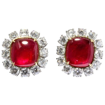 Important Burma Ruby and Diamond Earrings