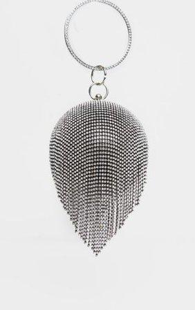 Black With Silver Diamante Tassel Sphere Clutch   PrettyLittleThing