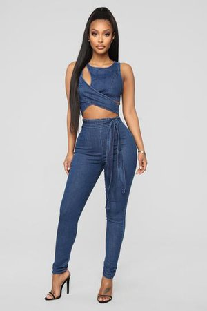 Cut Out The Haters Denim Jumpsuit - Light Wash, Jumpsuits | Fashion Nova
