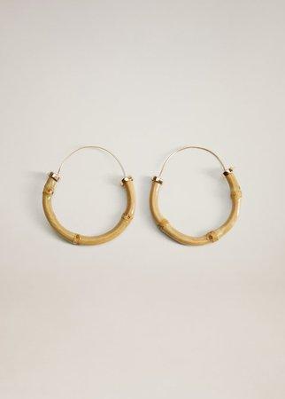 Bamboo hoop earrings - Women   Mango United Kingdom