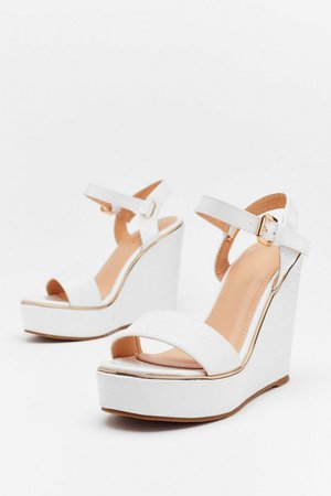 On Crocy Road Faux Leather Wedges | Nasty Gal