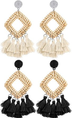Amazon.com: 2 Pairs Rattan Tassel Earrings Bohemian Statement Woven Dangle Fringe Earrings Ethnic Tassel Drop Earrings Vintage Jewelry for Women Girls (Black and White): Clothing