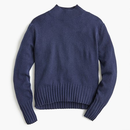 J.Crew: Long-sleeve Everyday Cashmere Mockneck Sweater For Women navy