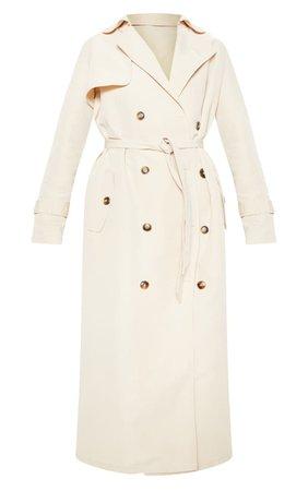 Stone Oversized Trench Coat | Coats & Jackets | PrettyLittleThing