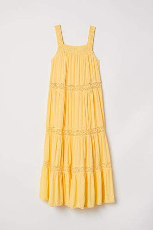 Crinkled Maxi Dress - Yellow
