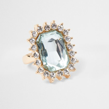 Gold Tone Jeweled Cocktail Ring | River Island