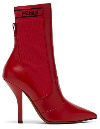 Leather And Ribbed Knit Ankle Boots - Womens - Red