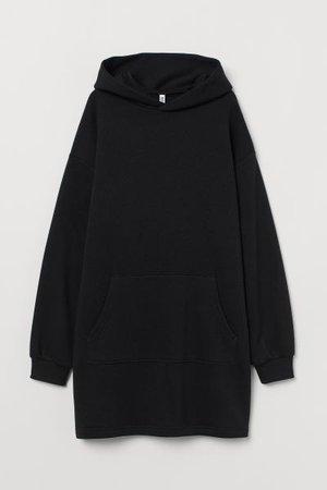 Hooded Sweatshirt Dress - Black - Ladies | H&M US