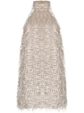Taller Marmo metallic fringe halterneck mini dress
