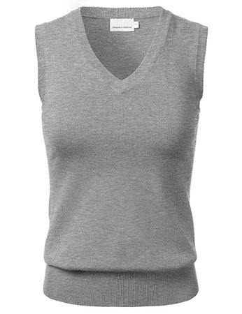 Women's Solid Classic V-Neck Sleeveless Pullover Sweater Vest Top White M at Amazon Women's Clothing store