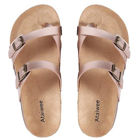 Amazon.com | Ataiwee Womens Flat Sandals Comfortable Casual Slides Slip On Summer Shoes. (1903013 BrownPU 6) | Sandals