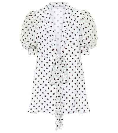 Polka-dot silk crêpe de chine minidress
