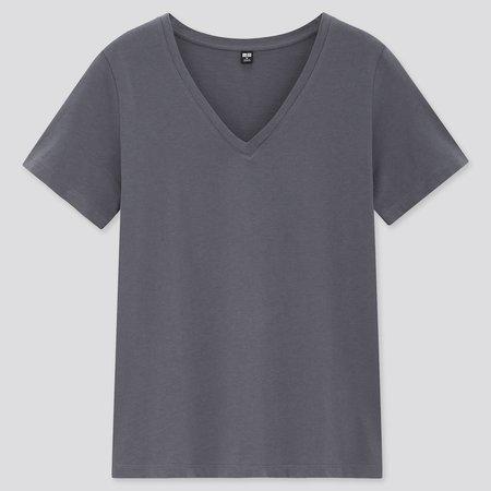 WOMEN SUPIMA® COTTON V-NECK SHORT-SLEEVE T-SHIRT | UNIQLO US grey