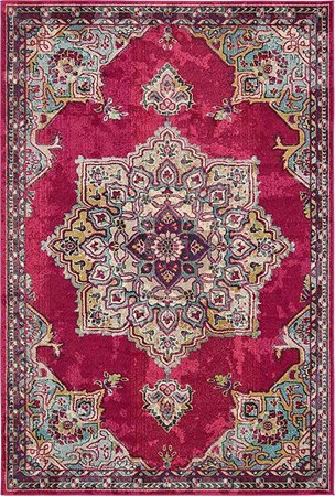 Amazon.com: Unique Loom Medici Collection Floral Medallion Pink Area Rug (7' x 10'): Kitchen & Dining