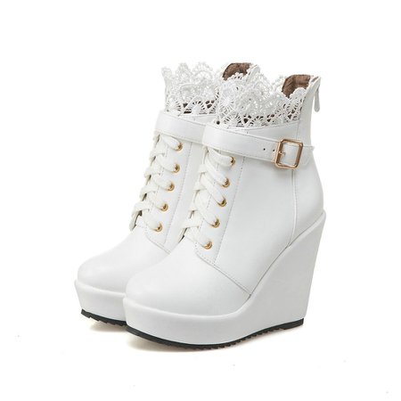 White wedge boots lace top