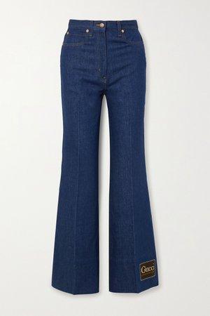 Blue Appliquéd high-rise wide-leg jeans | Gucci | NET-A-PORTER