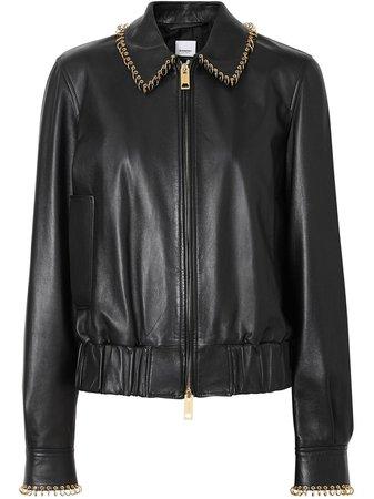 Burberry Ring-Pierced Lambskin Jacket 8016315 Black   Farfetch