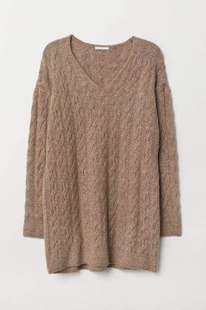 Cable-knit Sweater - Brown