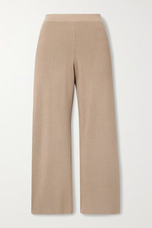Belis Cropped Ribbed-knit Straight-leg Pants - Light brown