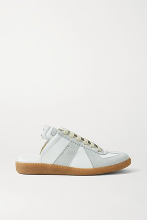 Replica Leather And Suede Slip-on Sneakers - White