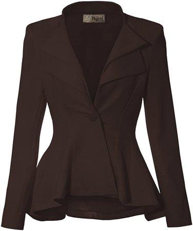 Women Double Notch Lapel Office Blazer JK43864 1073T Brown XL at Amazon Women's Clothing store