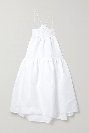 Hillary Tiered Cutout Seersucker Midi Dress - White
