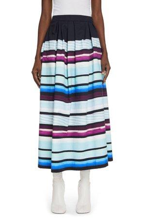 Dries Van Noten Sakura Stripe Pleated Cotton Skirt   Nordstrom