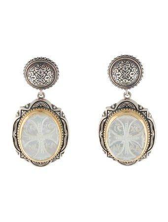 Konstantino Mother of Pearl Athena Cross Drop Earrings - Earrings - KON22538 | The RealReal