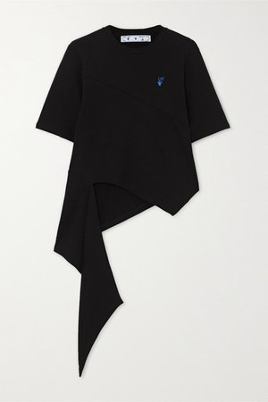 Asymmetric Embroidered Cotton-jersey T-shirt - Black