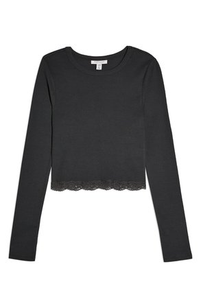 Topshop Lace Trim Crop Top