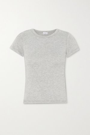 Gray Lori brushed stretch-knit T-shirt | LESET | NET-A-PORTER