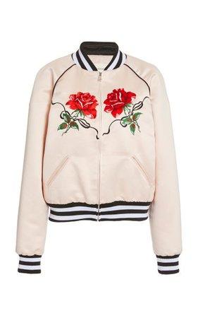 Rose-Embroidered Satin Bomber Jacket By Rodarte | Moda Operandi