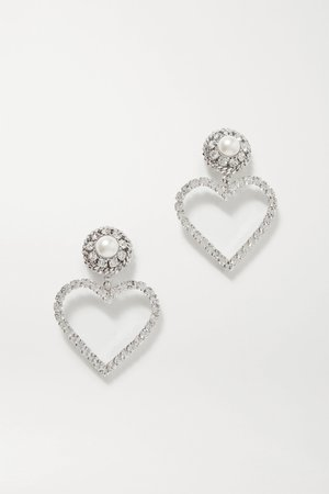 Silver Silver-plated, faux pearl and crystal clip earrings | Alessandra Rich | NET-A-PORTER
