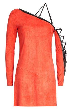 Suede Mini Dress with Leather Trim Gr. FR 36