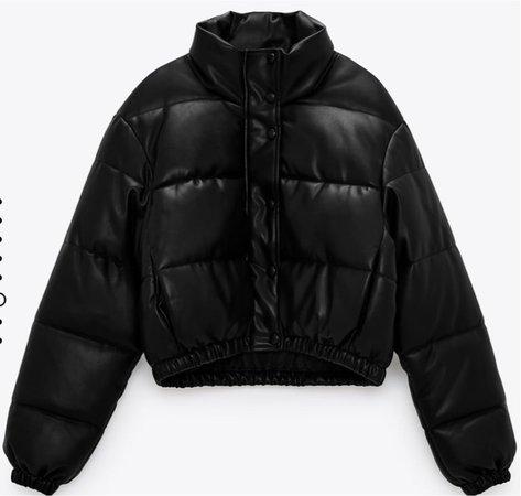 Zara puffer pu leather jacket