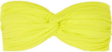 Johnny D Ruched Bandeau Bikini Top - Bright yellow