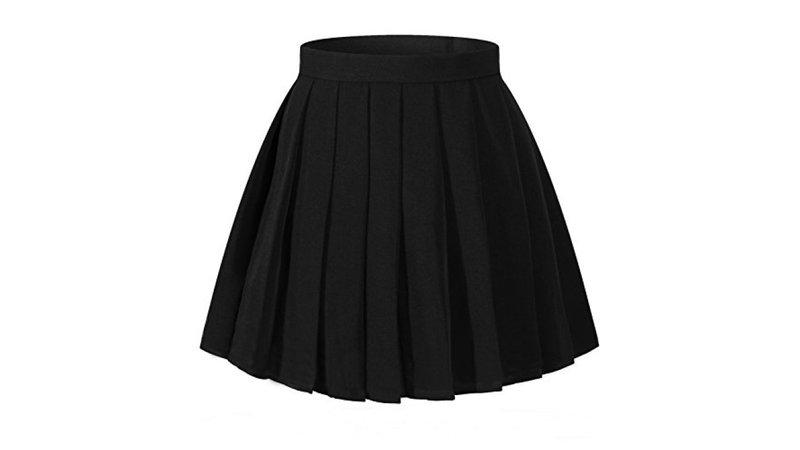 Women`s School Uniform High Waist band Short Pleated Skirts(L ,Black)