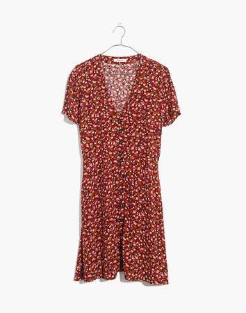V-Neck Button-Front Mini Dress in Spring Prairie