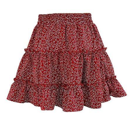 ROCONAT Women Summer High Waist Ruffles Printed Skirt Beach Skirts Yellow at Amazon Women's Clothing store