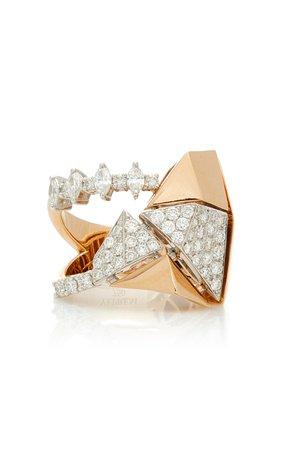 Yeprem 18K Rose & 18K White Gold Pink Strada Ring Size: 7.75