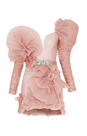 Raisa Vanessa Pink Mini Dress With Ruffles