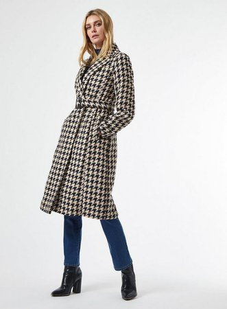 MOnochrome Dogtooth Belted Wrap Coat | Dorothy Perkins