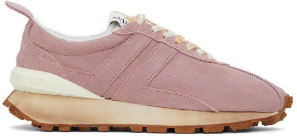 Pink Suede Bumper Sneakers
