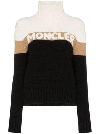 Moncler Roll-Neck Logo Intarsia Sweater | Farfetch.com