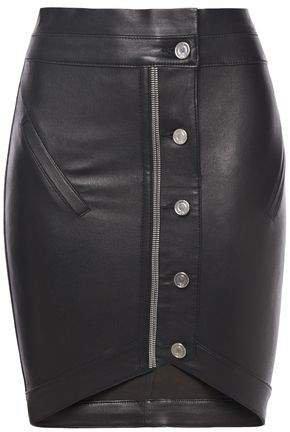 Zip-embellished Leather Mini Skirt